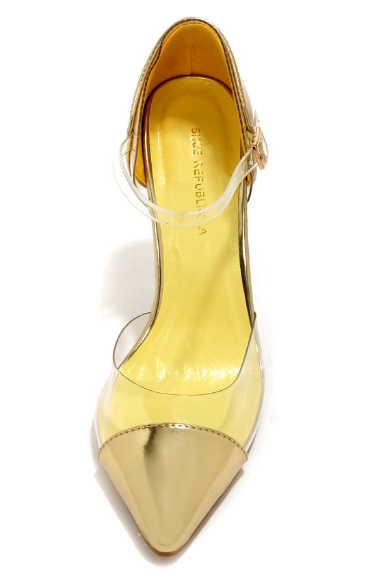 Shoe Republic LA Blandon Gold and Lucite D'Orsay Pointed Pumps at Lulus.com!