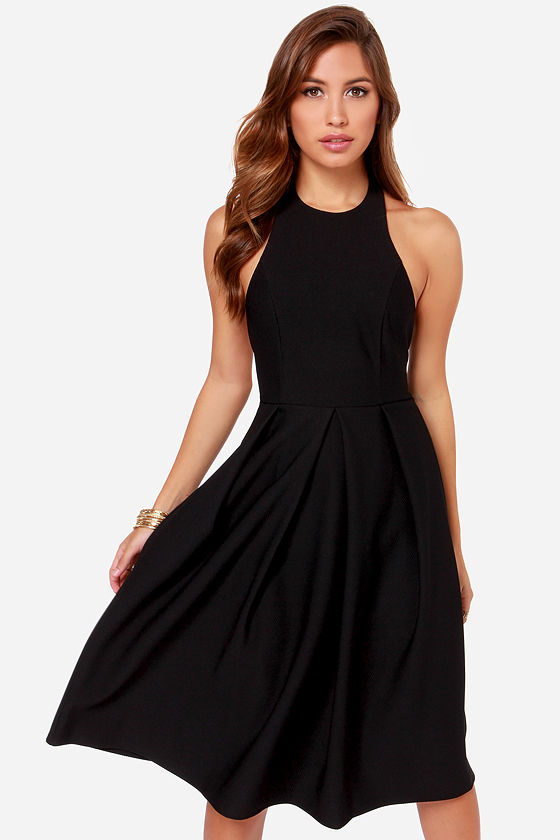 Black Dress - Backless Dress - Midi Dress - $49.00