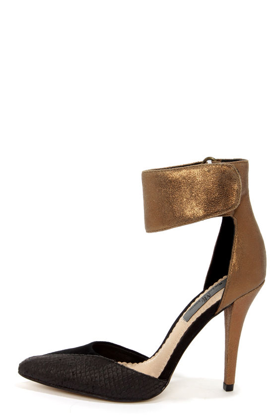Sexy Ankle Strap Heels - Bronze Heels - Leather Heels - $129.00