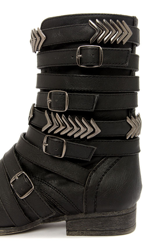 Madden Girl Georgie Black Belted Mid-Calf Boots at Lulus.com!