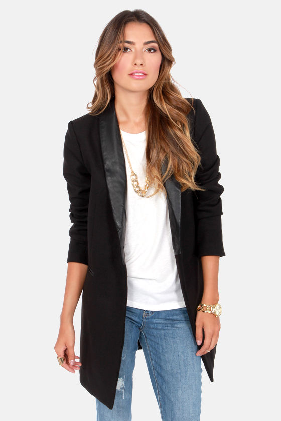 BB Dakota Blair Coat - Black Coat - Boyfriend Jacket - Oversized ...