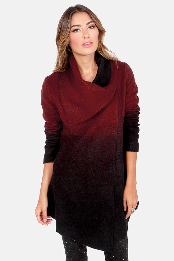BB Dakota Amber Black and Burgundy Coat at Lulus.com!