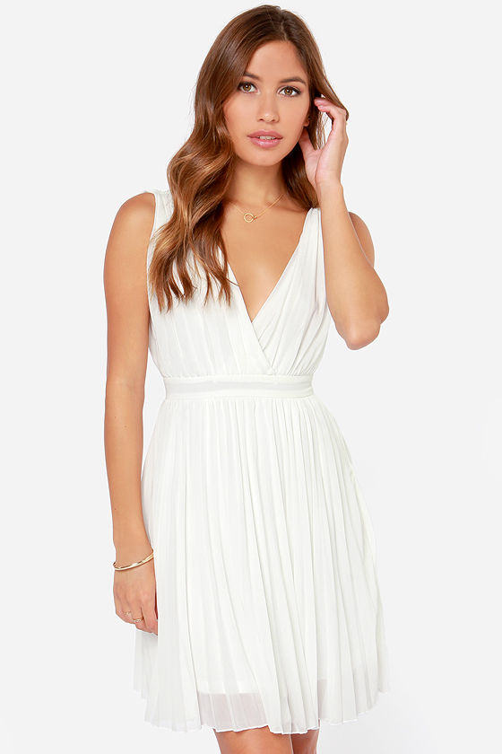 9a646f661ca Ivory Dress - Sleeveless Dress - Pleated Dress - White Dress -  55.00