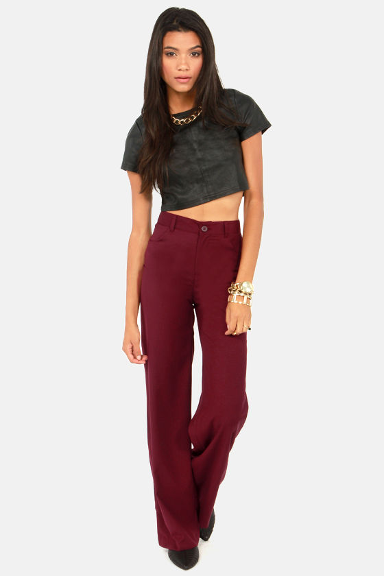 BB Dakota Giovanna Pants - Burgundy Pants - Wide-Leg Pants ...