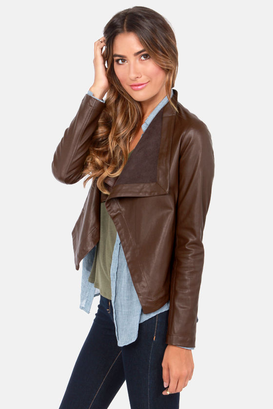 BB Dakota Jasper Jacket - Brown Jacket - Vegan Leather Jacket - $83.00
