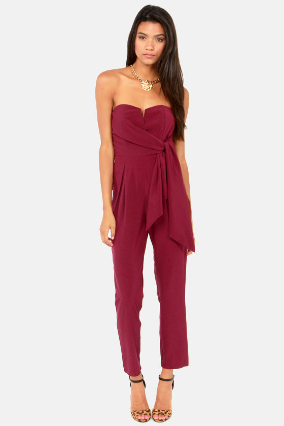 Sash Money Strapless Burgundy Jumpsuit at Lulus.com!