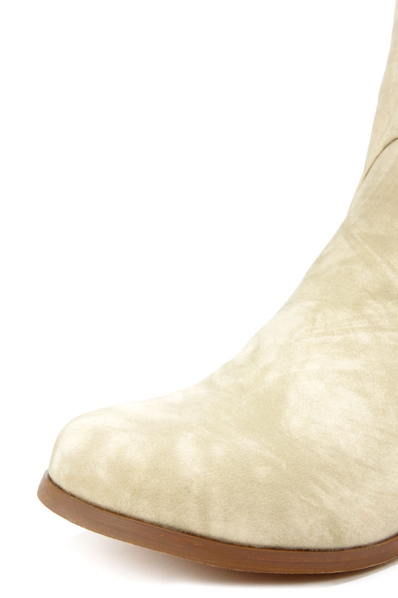Not Rated Frontline Cream Studded Knee High Riding Boots at Lulus.com!
