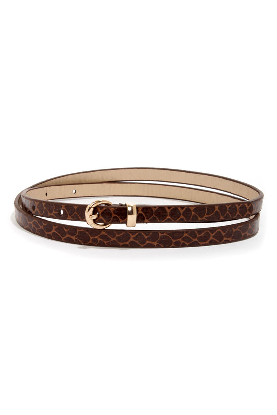 Snake Peek Brown Snakeskin Skinny Belt at Lulus.com!