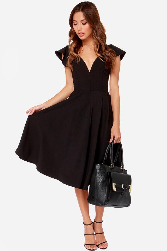 cute black dress  midi dress  modest dress  4500