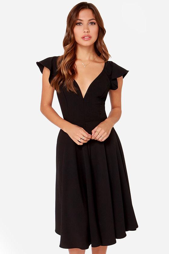 a998f22c274 Cute Black Dress - Midi Dress - Modest Dress - $45.00