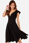 Cute Black Dress Midi Dress Modest Dress 4500