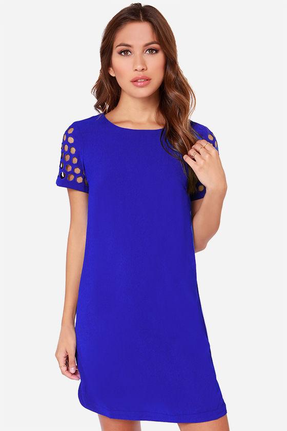 Blue Dress - Shift Dress - Short Sleeve Dress - $75.00