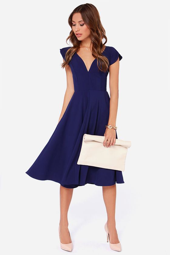Cute Royal Blue Dress - Midi Dress - Modest Dress - $45.00