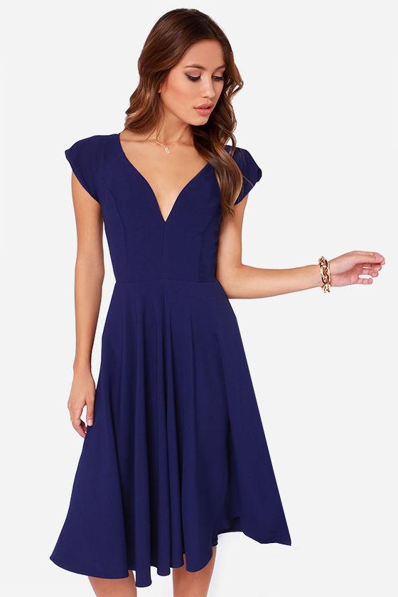 59c1823e6992 Cute Royal Blue Dress - Midi Dress - Modest Dress -  45.00