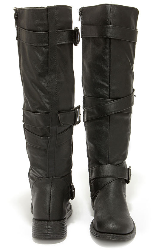 7786cb830d1 Cool Black Boots - Knee High Boots - Buckle Boots -  47.00