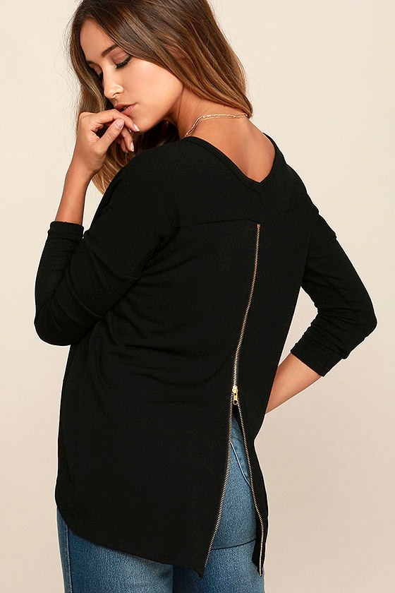 Zip to My Lou Black Sweater Top - Lulus