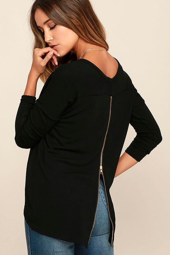 Zip to My Lou Black Sweater Top - Lulus