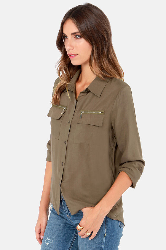 My Zips Are Sealed Olive Green Top at Lulus.com!