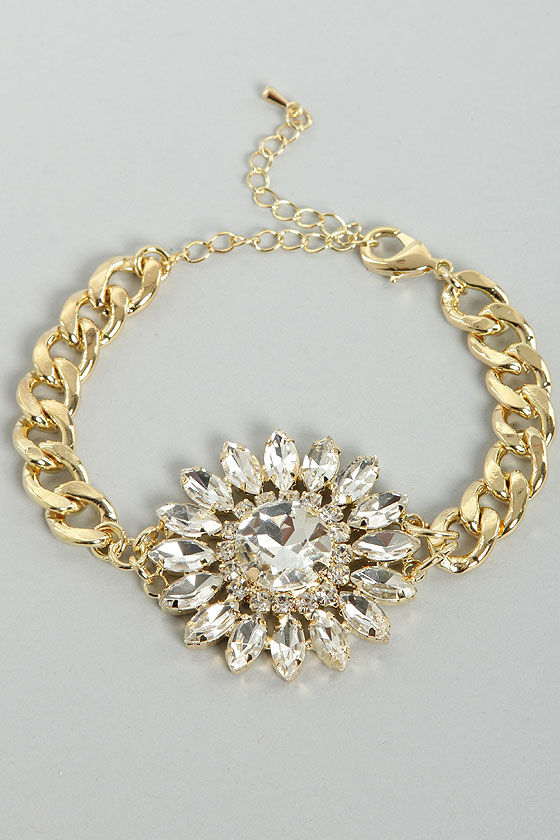 Diamond Mine All Mine Gold Rhinestone Bracelet at Lulus.com!