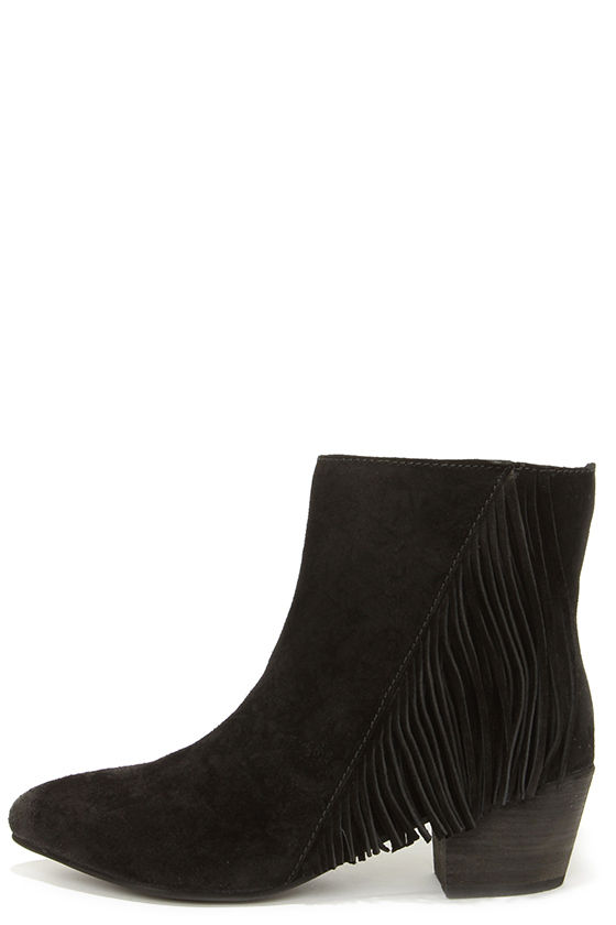 Cute Black Boots - Suede Booties - Fringe Booties - Ankle Boots ...