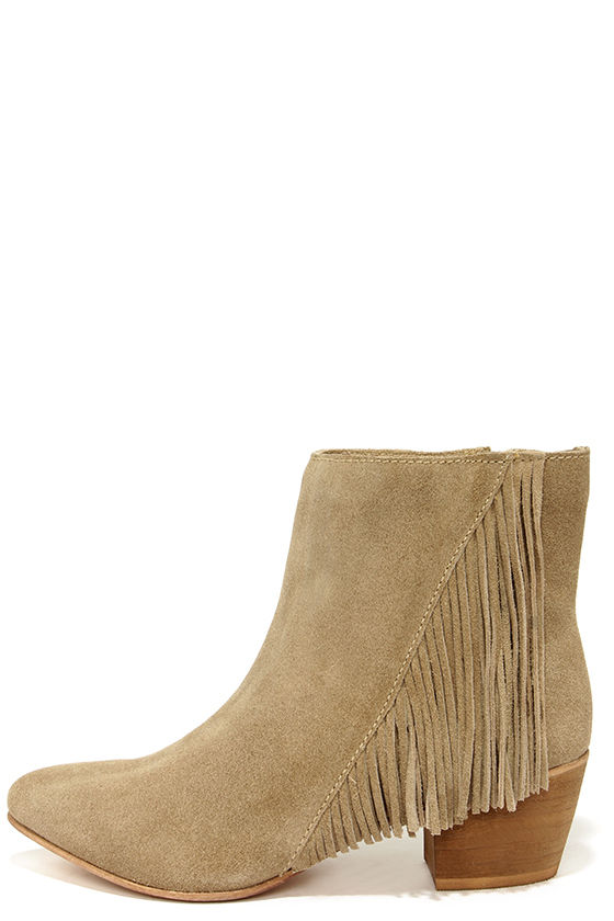 Cute Beige Boots - Suede Booties - Fringe Booties - Ankle Boots ...