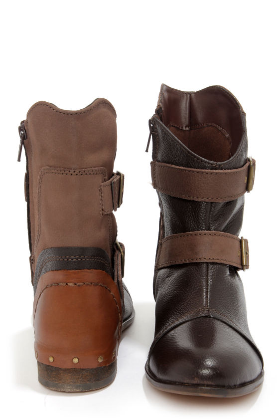 Naughty Monkey Short and Stout Chocolate Brown Leather Boots at Lulus.com!