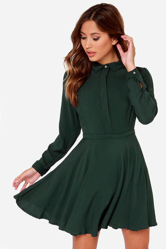 Rhythm Deschanel Dress - Forest Green Dress - Shirt Dress - $79.00