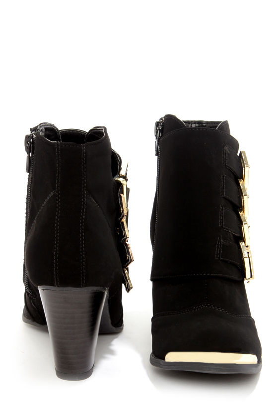 Bamboo Sharpay 03 Black and Gold Belted Ankle Boots at Lulus.com!