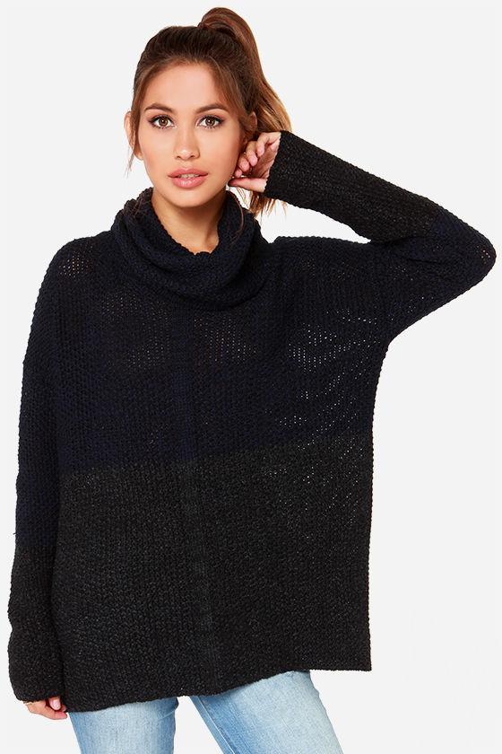 Cozy Navy Blue Sweater - Grey Color Block Sweater - Cowl Neck ...