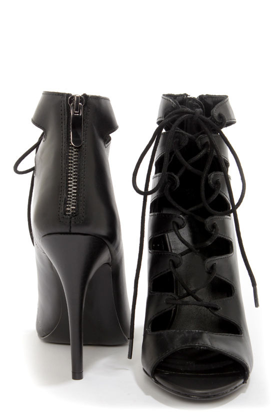 Chinese Laundry Jackpot Black Leather Lace-Up High Heel Booties at Lulus.com!
