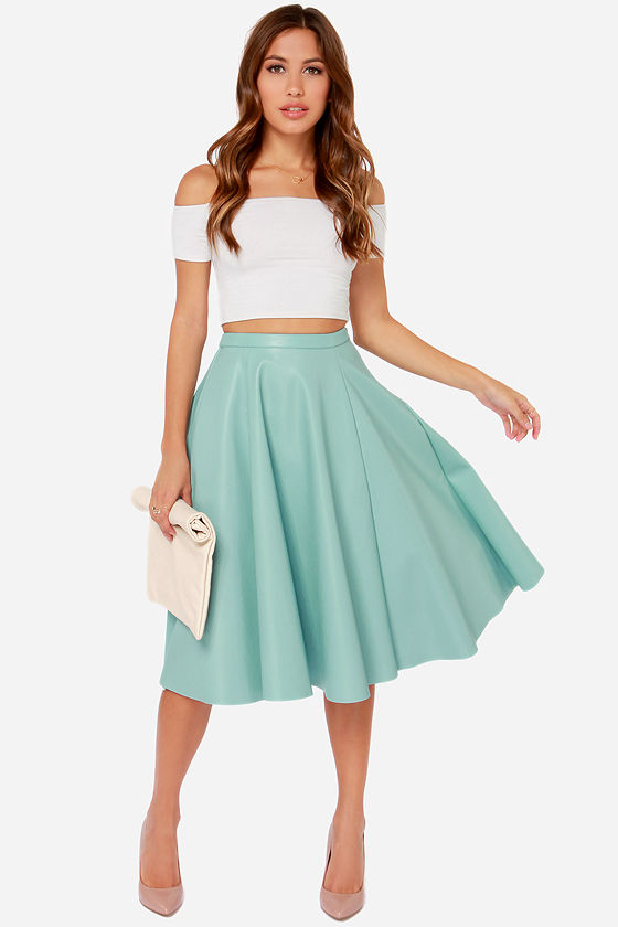 Cute Light Blue Skirt - Vegan Leather Skirt - Midi Skirt - $67.00