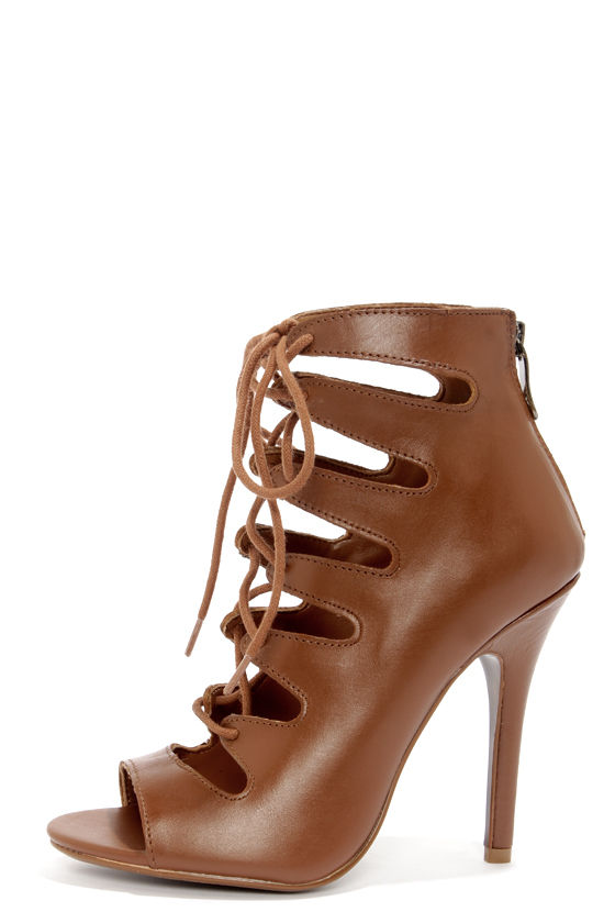 Chinese Laundry Jackpot Cognac Leather Lace-Up High Heel Booties at Lulus.com!