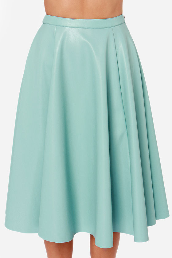Cute Light Blue Skirt - Vegan Leather Skirt - Midi Skirt - $67.00