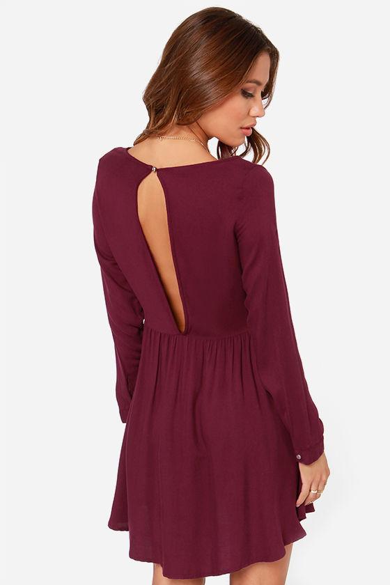Rhythm Florence Dress - Burgundy Dress - Long Sleeve Dress - $71.00