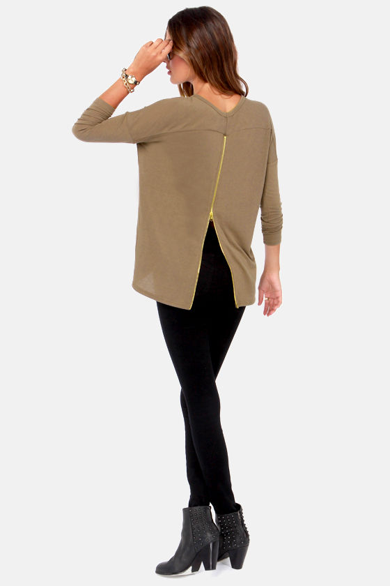 Zip to My Lou Taupe Sweater Top at Lulus.com!