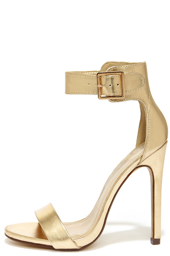 Sexy Gold Heels - Single Sole Heels - Ankle Strap Heels - $27.00