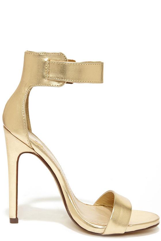 Sexy Gold Heels - Single Sole Heels - Ankle Strap Heels - $27.00