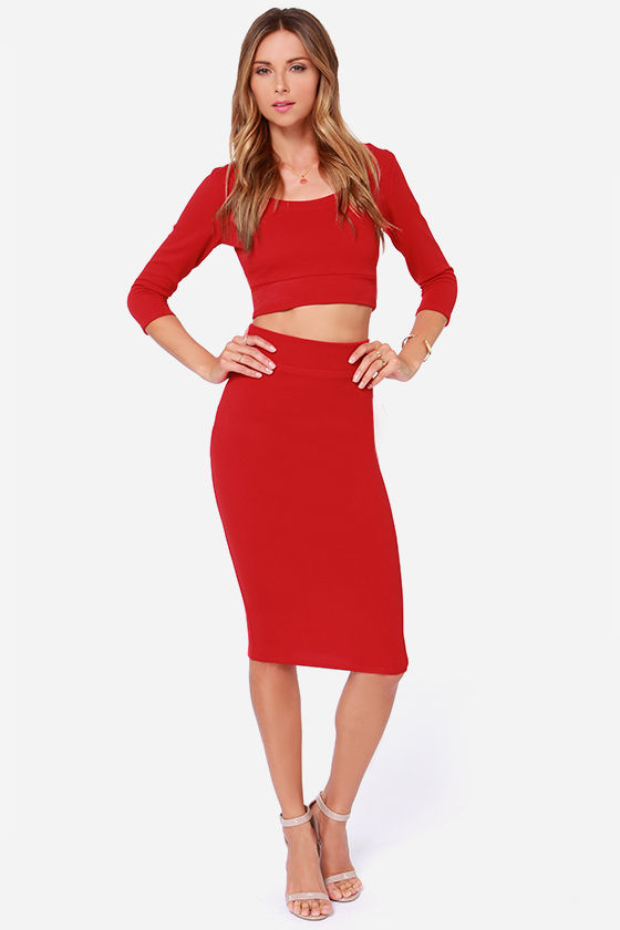 original red two piece outfit