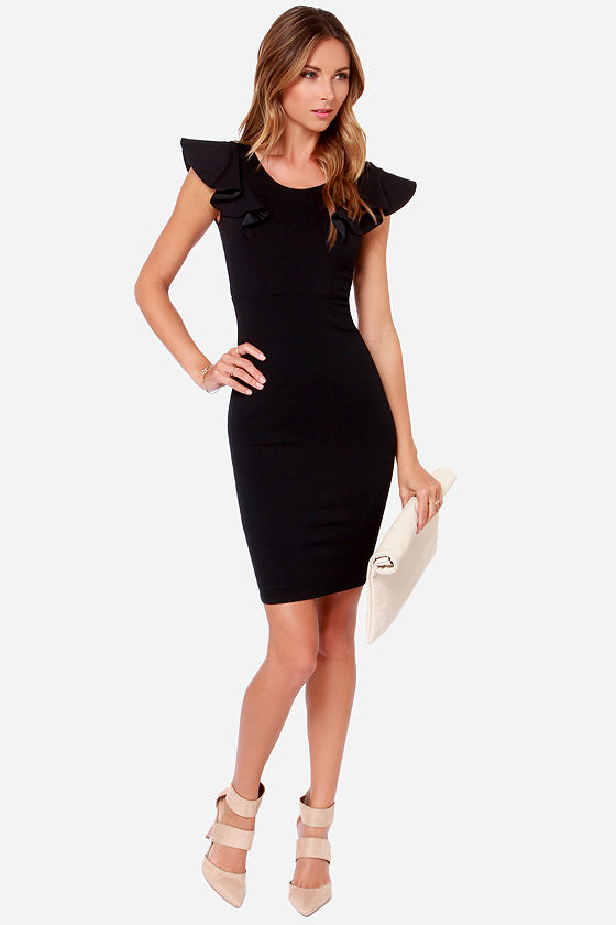 Pretty Black Dress - Ruffle Dress - Bodycon Dress - $45.00