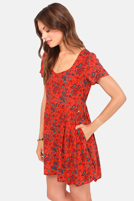 Obey Sweet Jane Red Orange Print Dress at Lulus.com!