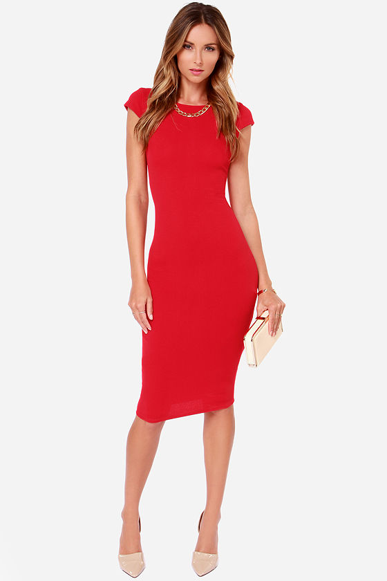 ea9e32965892 Red Dress - Midi Dress - Bodycon Dress -  61.00