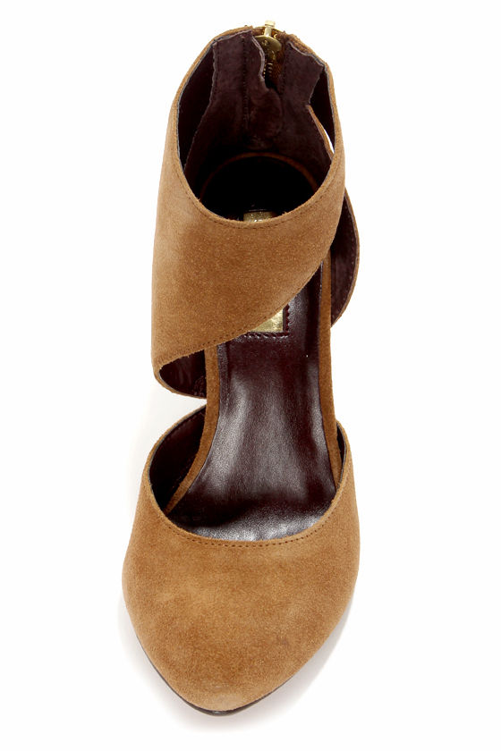 Report Signature Baywoode Dark Tan Leather D'Orsay Heels at Lulus.com!