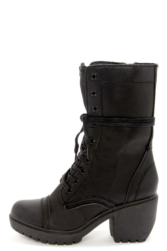 Report Signature Orsin Black Lace-Up High Heel Combat Boots at Lulus.com!