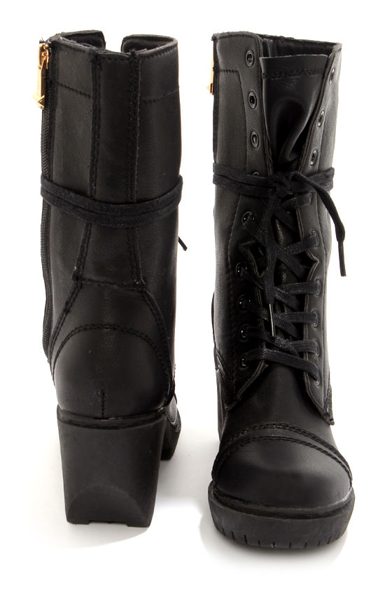 Cute Black Boots - High Heel Boots - Combat Boots - $95.00