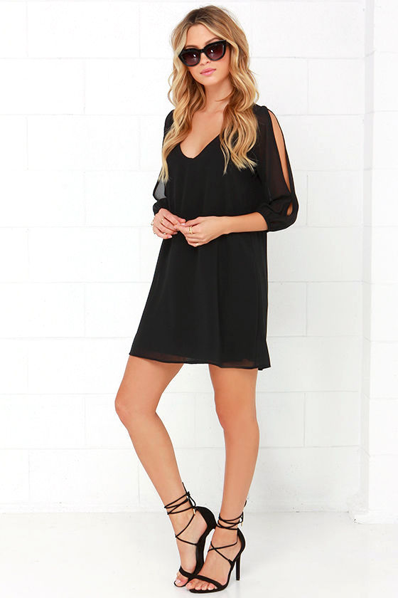 LULUS Exclusive Shifting Dears Black Long Sleeve Dress 2
