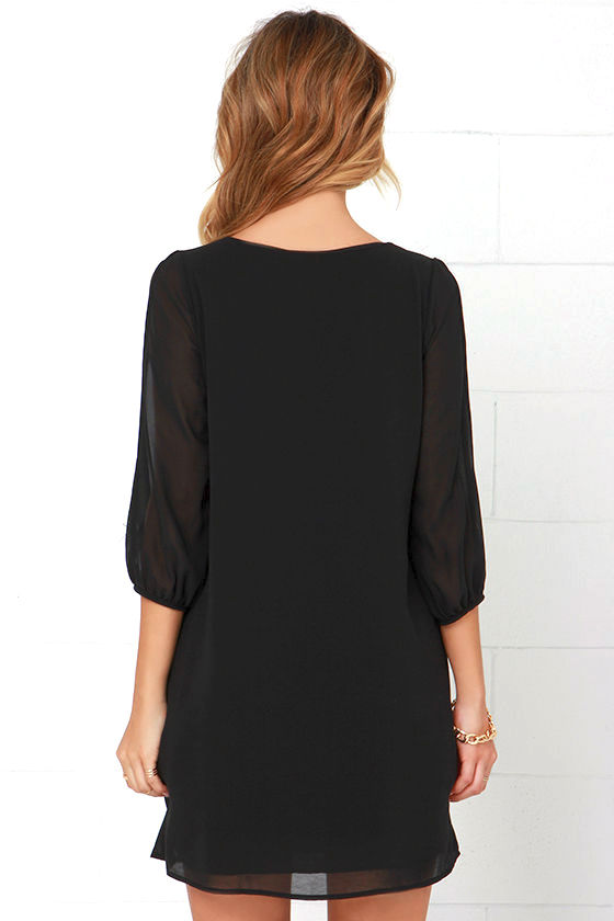 LULUS Exclusive Shifting Dears Black Long Sleeve Dress 4