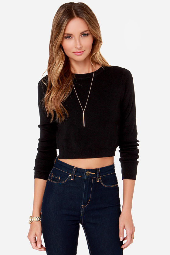 Crop Top - Sweater Top - Black Top - $49.00