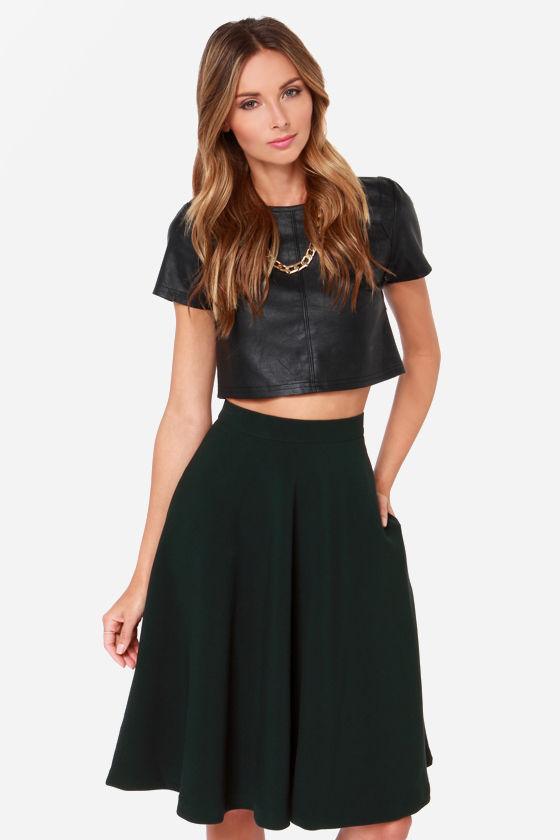 255dbeb5e108 Finders Keepers Skirt - Forest Green Skirt - Midi Skirt