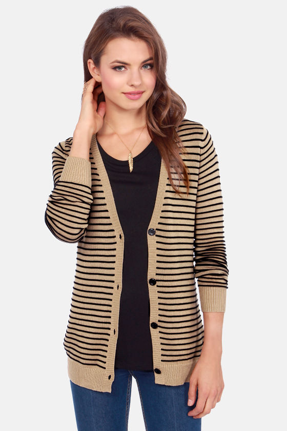 Volcom For Keeps Brown Striped Cardigan Sweater at Lulus.com!