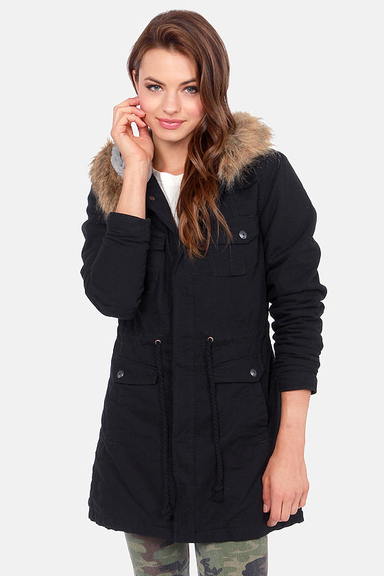 Volcom Trip Military Black Hooded Parka at Lulus.com!
